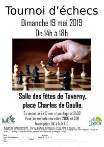 Tournoi d'echecs Jeunes de Taverny - Dimanche 19 mai 2019 (13h30-18h)