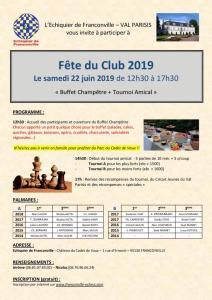 Fête du club - Samedi 22 Juin 2019 (12h30-17h)