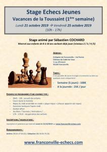 Stage Jeunes de la Toussaint (du 21 au 25 octobre 2019)