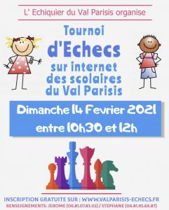 Tournoi par internet des Scolaires du Val Parisis - Dimanche 14 février 2021